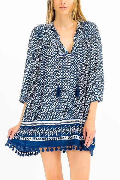 Navy and White Chevron Print Tunic