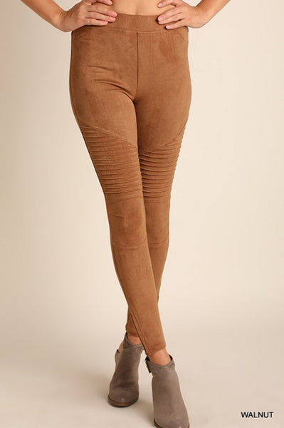 High Waisted Suede Moto Leggings with Ankle Zippers in Walnut