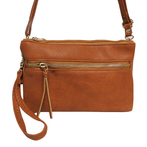XXX3 COMPARTMENT CROSSBODY OR CLUTCH - CAMEL