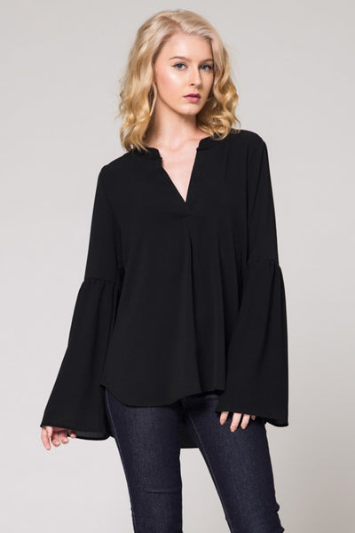 Black V Neck Bell SLV Top