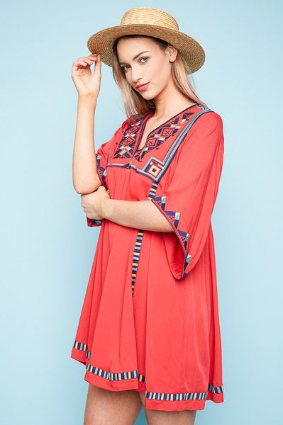 Embroidered Tunic dress with 3/4  length bell sleeves