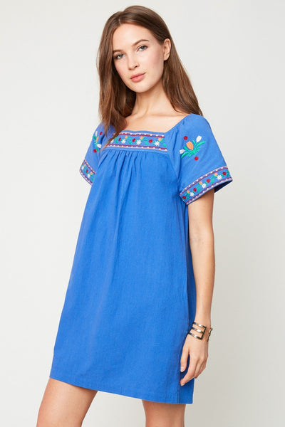 Cobalt blue embroidered tunic dress