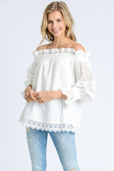 White Eyelet Off the Shouler Top