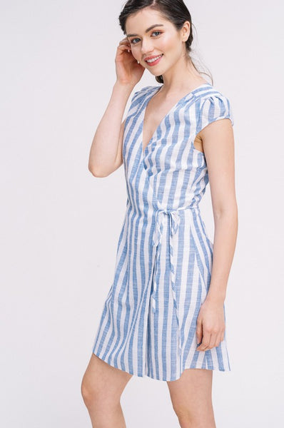 Blue and White Stripe Puff Sleeve Wrap Dress