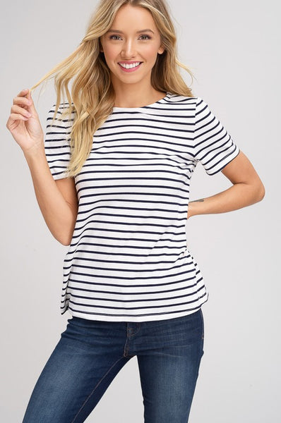 Stripe Cut Out Tie Back Shirt