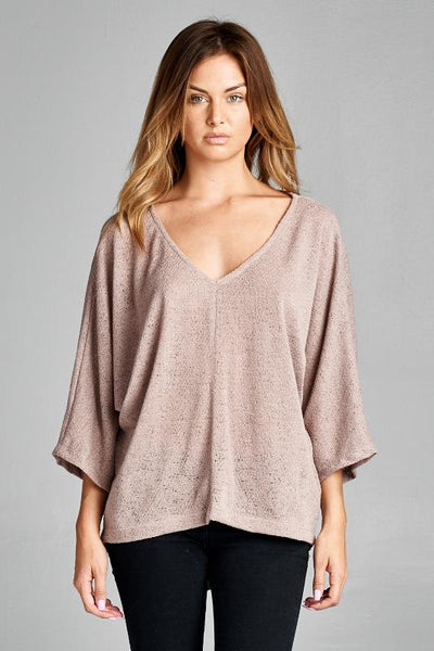 Taupe 3/4 Length Sleeve Sweater