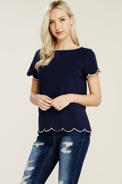 Navy with White Scallop Edge Top