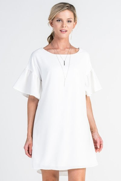 White Bell Sleeve Shift Dress - Boat neckline - Shirred bell sleeves - Fully lined