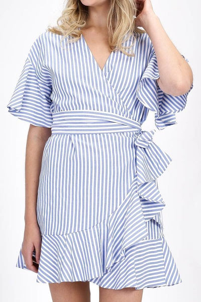 Blue and White Stripe Ruffle Hem Wrap Dress