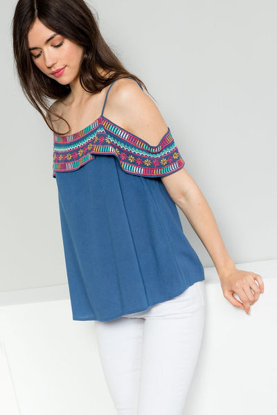 THML Embroidered Open Shoulder Flounce Top