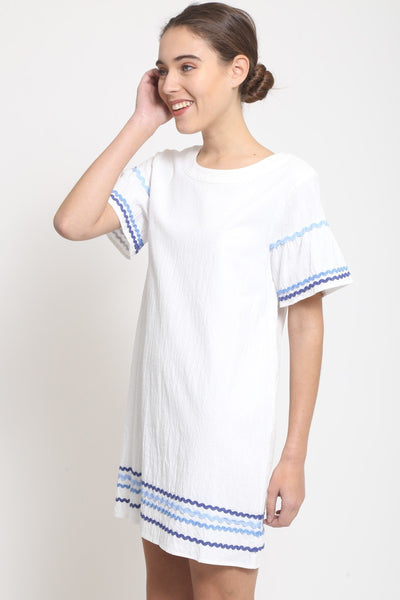 White Shift Dress with Blue Ric Rac Trim