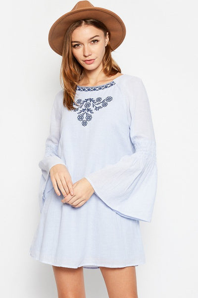 Bell Sleeve Embroidered Dress