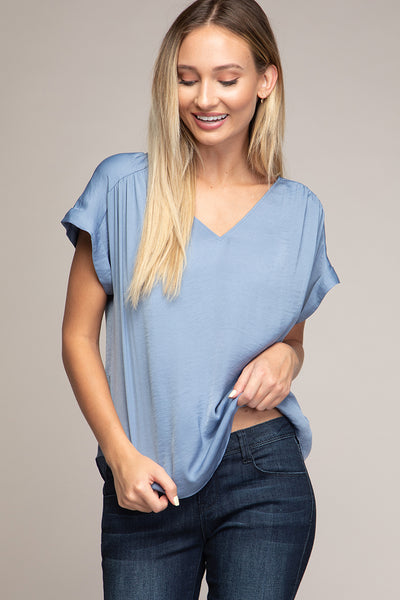 SHORT SLEEVE DROP SHOULDER REGULAR BLOUSE IN BLUE