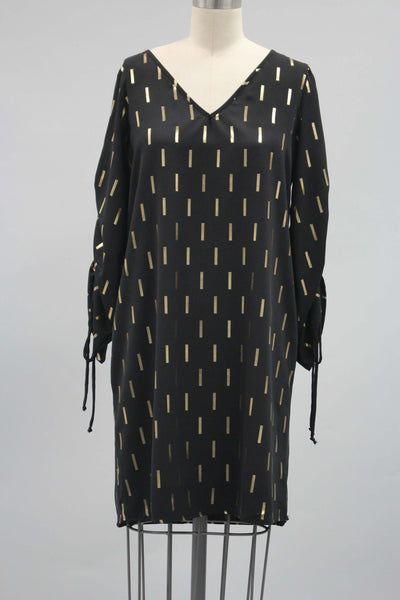 Black V Neck Dress with Gold Foil Detailing