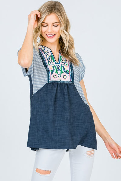 XXXEmbroidered Cap Sleeve Top