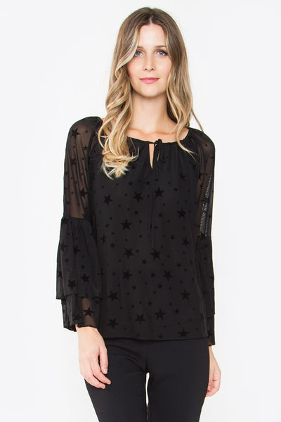 DAVY VELVET CHIFFON TOP IN BLACK