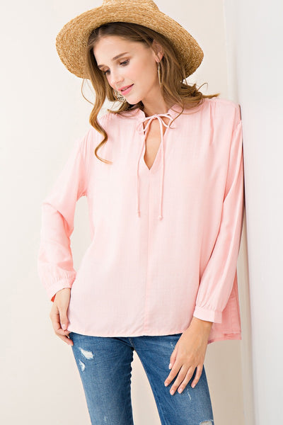 Pink Woven V Neck Blouse