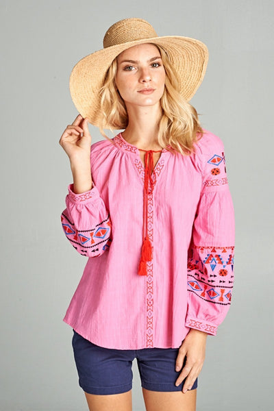 Hot Pink Embroidered Top with Tassels