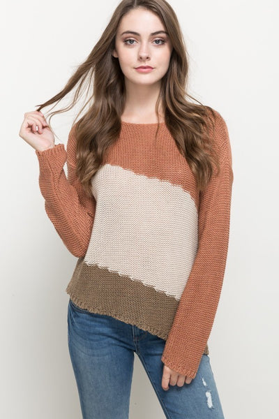 UNBALANCED HEM, COLOR BLOCK BOAT NECK SWEATER