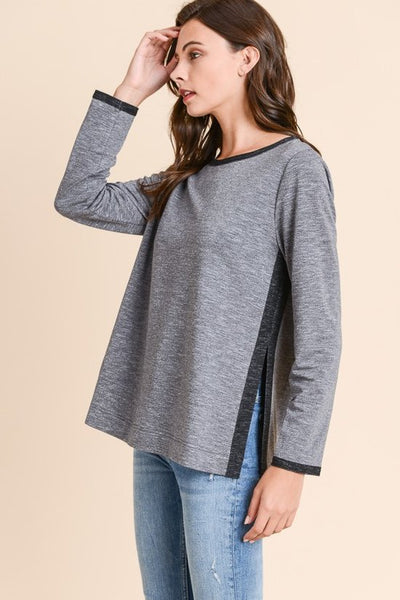 HEATHER GRAY SWEATER WITH SIDE AND NECK DETAIL