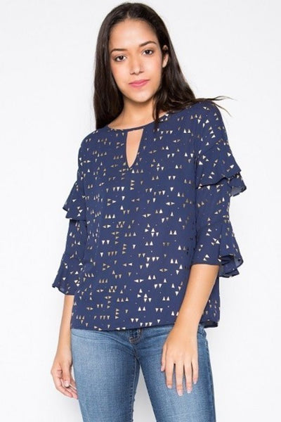 XXXRUFFLE BELL SLEEVE KEYHOLE TOP WITH GOLD FOIL DETAIL