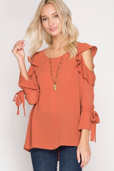 3/4 SLEEVE RUFFLED COLD SHOULDER TOP WITH SLEEVE RIBBONS