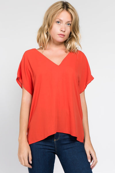 V Neck Top in Rust