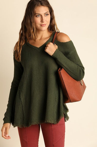 XXXCold Shoulder Olive Sweater
