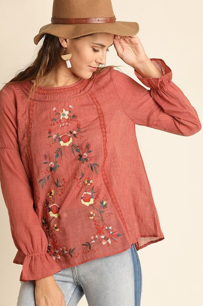 Floral Embroidered Top with Lace Trim Details and Back Keyhole