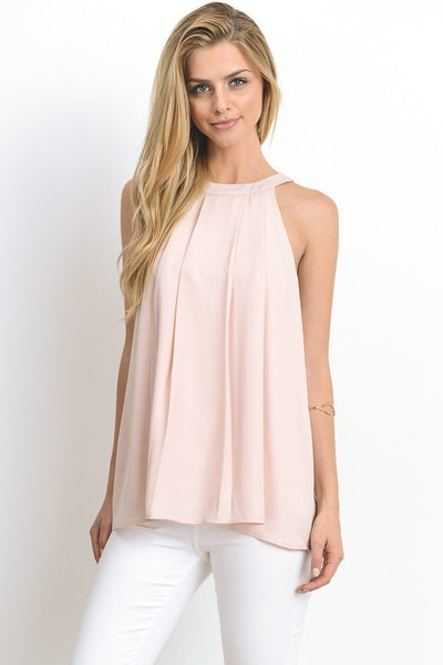 CIRCLE NECK RACER BOWBACK TOP IN BLUSH