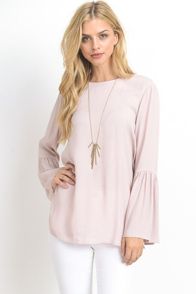 Blush Bell Sleeve Top with Keyhole Back Detail