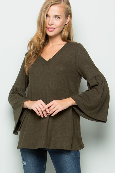 KNIT BELL SLEEVED TOP IN OLIVE