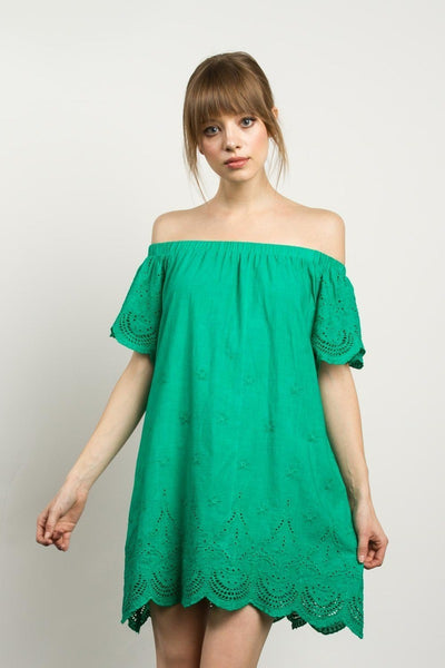 Off-the-Shoulder Cotton Dress with Scalloped Hem