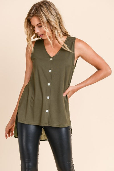 V NECK BUTTON TOP IN OLIVE
