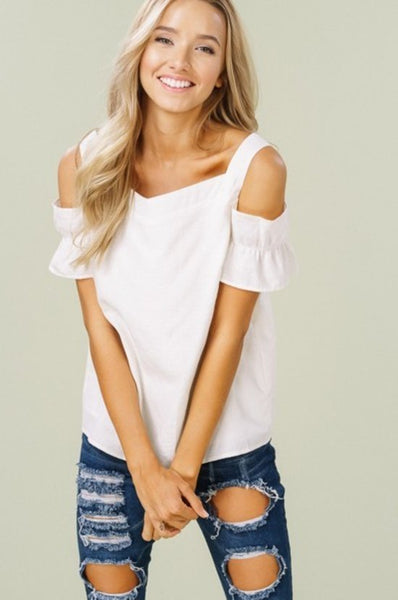 Embroidery cold shoulder wide neck tank top in ivory.