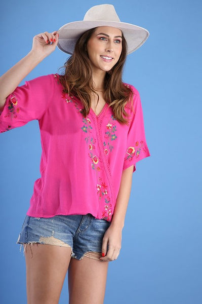 Floral Embroidered Surplice Top with Crochet Trim in Pink