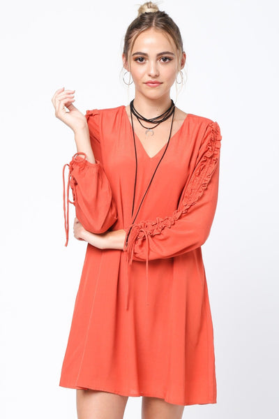 Rust Dress with Drawstring Sleeve Detail