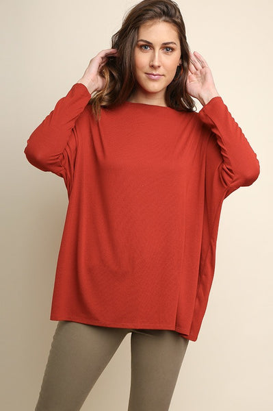 Long Sleeve Top with Tulip Back Detail in Burnt Orange