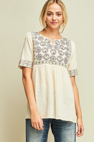 Short Sleeved Embroidered Top in Ivory