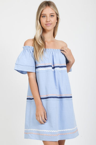 Off the Shoulder Light Blue Dress with Ric Rac Trim