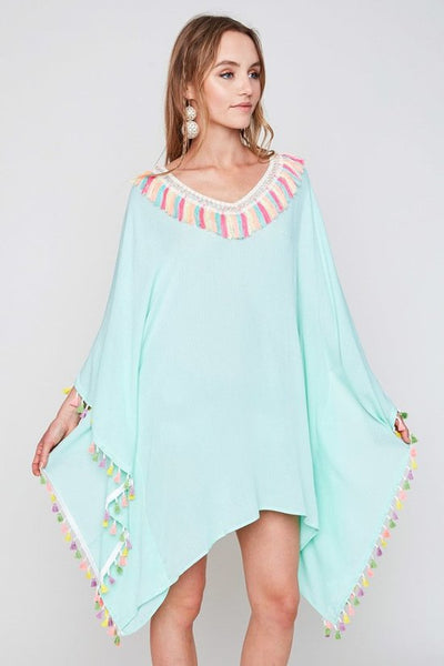 Tassel Trim Tunic in Mint