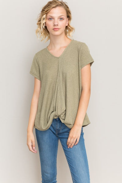 KNOT FRONT CONTRAST BACK V NECK TOP IN OLIVE