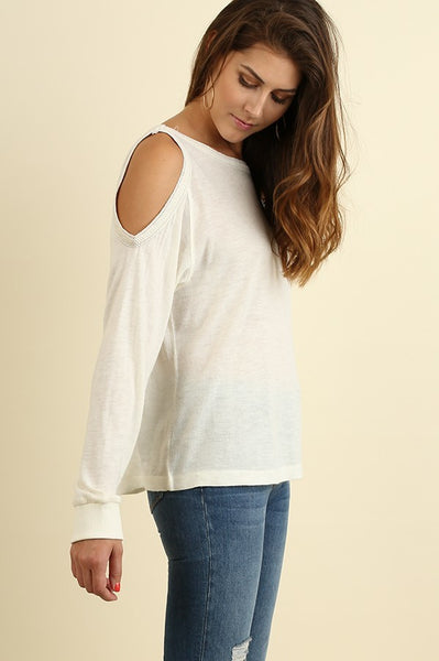 Cream Long Sleeve Top with Open Shoulders and Trim Detail