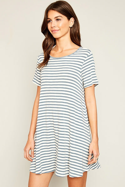 Stripe T-Shirt Dress With Keyhole Detail