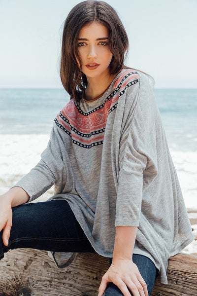 THML Dolman Embroidered Sweater