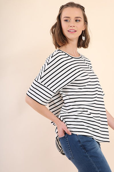 Striped Short Sleeve Top with Cutout T-Back and Scoop Hem IN Black and Ivory
