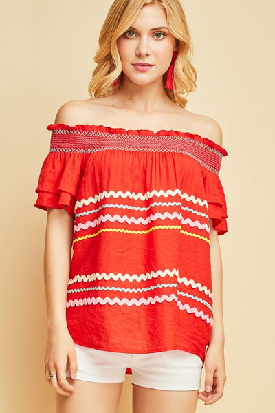 Off the Shoulder Ric Rac Top