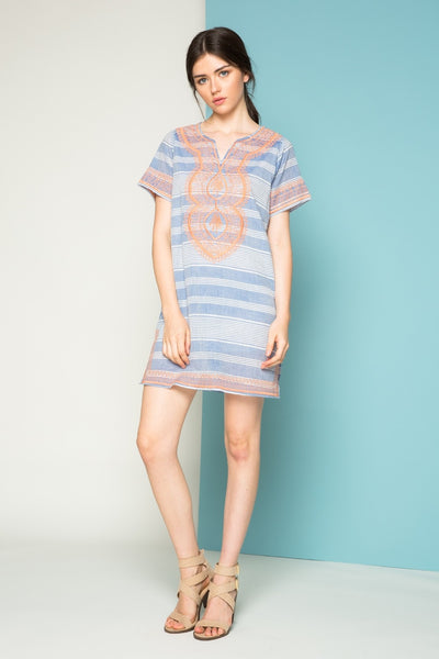 Short Sleeve Dress with Embroidery