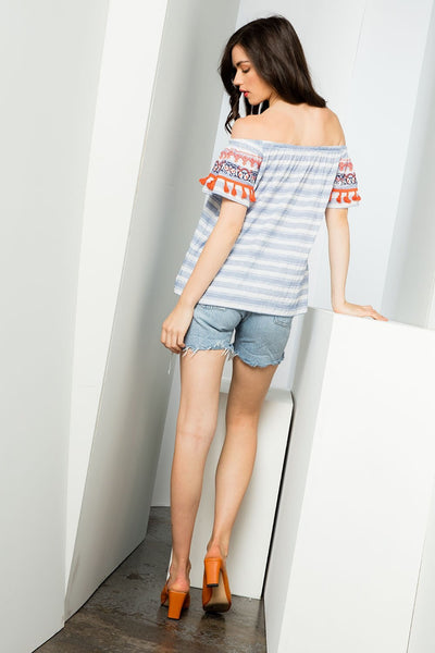 THML Off the Shoulder Stripe Top with Embroidery