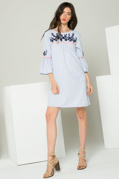 THML Blue and White Bell Sleeve Dress